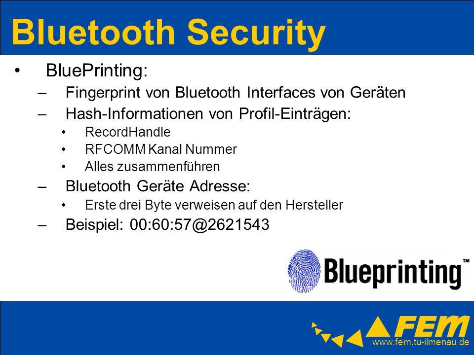 www.fem.tu-ilmenau.de Bluetooth Security BluePrinting: –Fingerprint von Bluetooth Interfaces von Geräten –Hash-Informationen von Profil-Einträgen: Rec