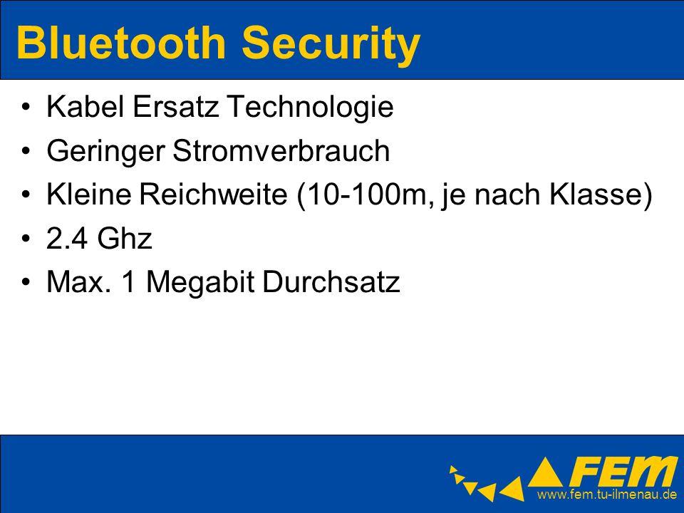 www.fem.tu-ilmenau.de Bluetooth Security Kabel Ersatz Technologie Geringer Stromverbrauch Kleine Reichweite (10-100m, je nach Klasse) 2.4 Ghz Max. 1 M