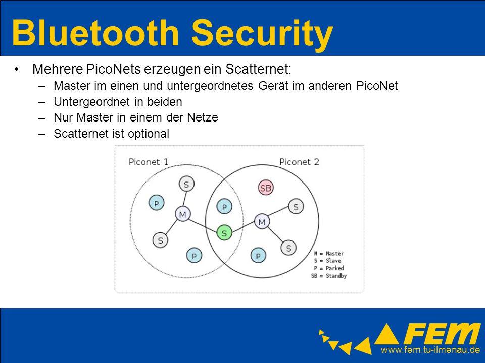 www.fem.tu-ilmenau.de Bluetooth Security Mehrere PicoNets erzeugen ein Scatternet: –Master im einen und untergeordnetes Gerät im anderen PicoNet –Unte