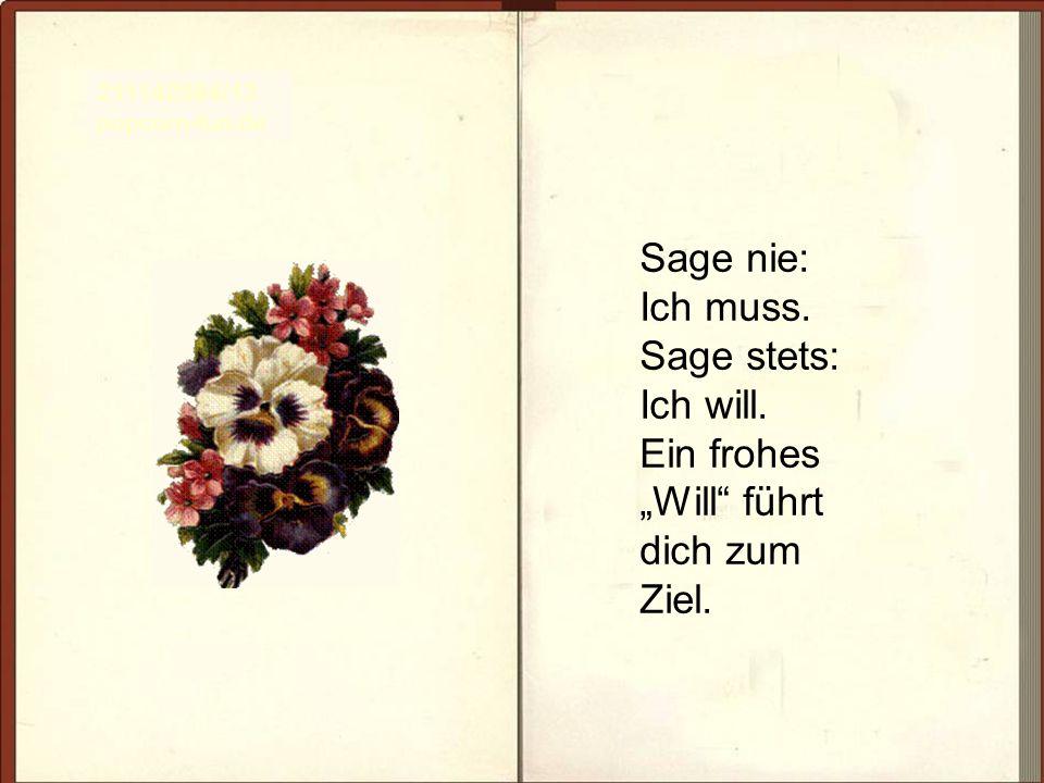 Sage nie: Ich muss. Sage stets: Ich will. Ein frohes Will führt dich zum Ziel. 211142584/13 popcorn-fun.de