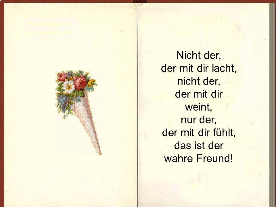Nicht der, der mit dir lacht, nicht der, der mit dir weint, nur der, der mit dir fühlt, das ist der wahre Freund! 211142584/13 popcorn-fun.de