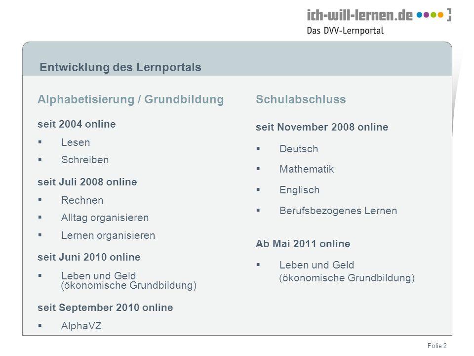 Entwicklung des Lernportals Alphabetisierung / Grundbildung seit 2004 online Lesen Schreiben seit Juli 2008 online Rechnen Alltag organisieren Lernen