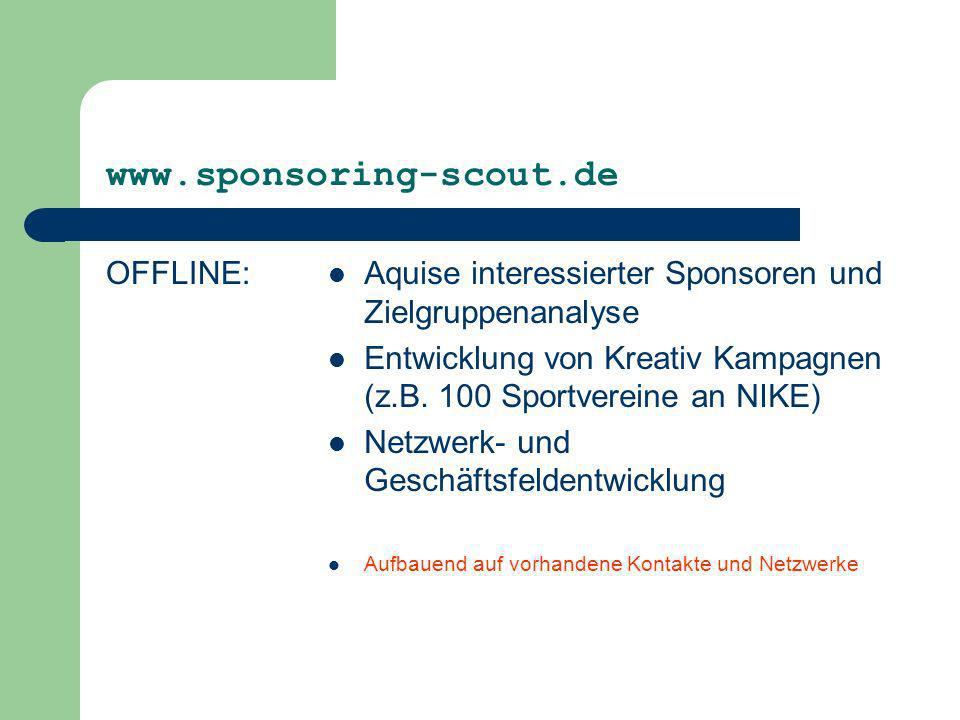 www.sponsoring-scout.de OFFLINE: Aquise interessierter Sponsoren und Zielgruppenanalyse Entwicklung von Kreativ Kampagnen (z.B. 100 Sportvereine an NI