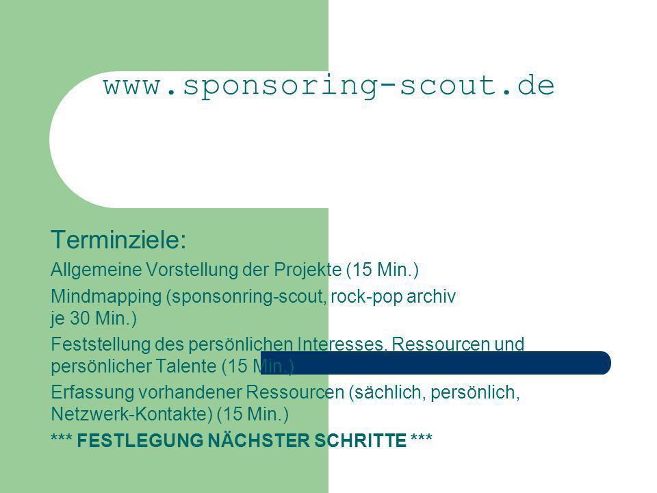 Terminziele: Allgemeine Vorstellung der Projekte (15 Min.) Mindmapping (sponsonring-scout, rock-pop archiv je 30 Min.) Feststellung des persönlichen I