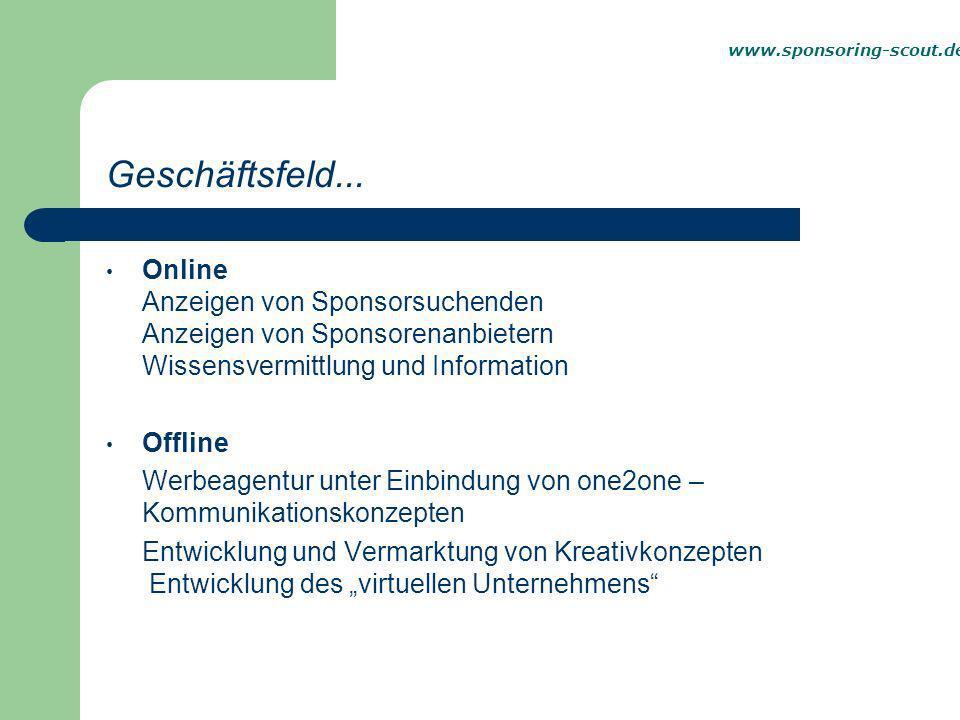 Online Anzeigen von Sponsorsuchenden Anzeigen von Sponsorenanbietern Wissensvermittlung und Information Offline Werbeagentur unter Einbindung von one2