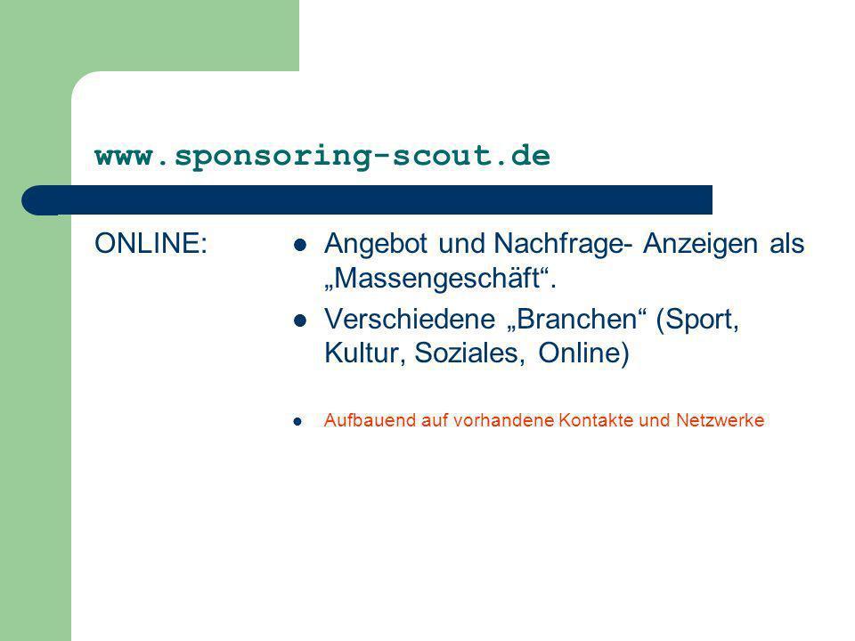 www.sponsoring-scout.de ONLINE: Angebot und Nachfrage- Anzeigen als Massengeschäft. Verschiedene Branchen (Sport, Kultur, Soziales, Online) Aufbauend