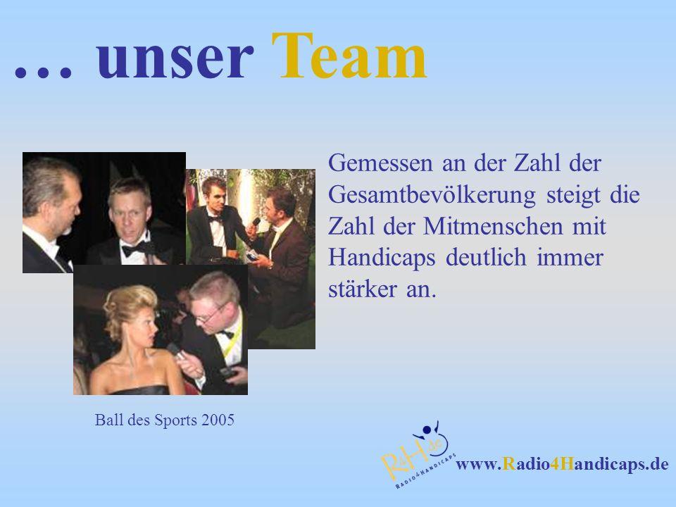 www.Radio4Handicaps.de … unser Team Gemessen an der Zahl der Gesamtbevölkerung steigt die Zahl der Mitmenschen mit Handicaps deutlich immer stärker an
