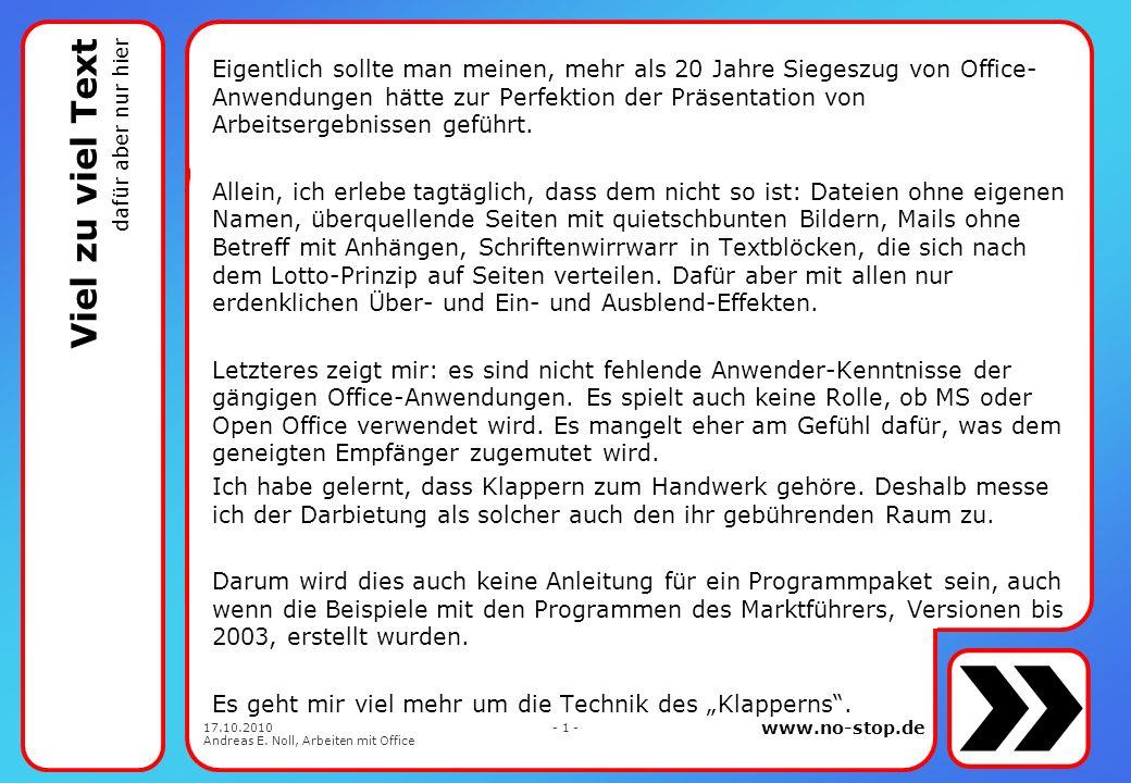 www.no-stop.de 17.10.2010 Andreas E. Noll, Arbeiten mit Office - 31 - die Ecken beim Runden
