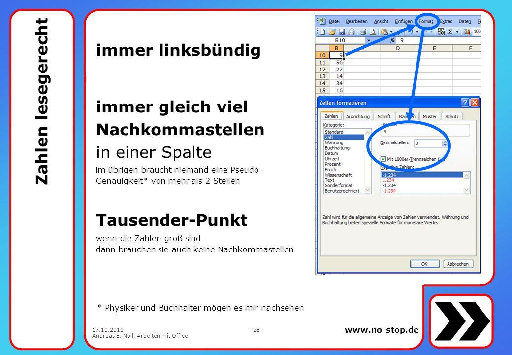 www.no-stop.de 17.10.2010 Andreas E. Noll, Arbeiten mit Office - 27 - ? welche Zahl ist die größte
