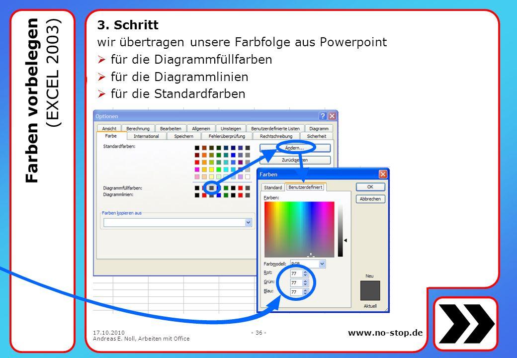 www.no-stop.de 17.10.2010 Andreas E. Noll, Arbeiten mit Office - 35 - 2. Schritt wir öffnen in mappe.xlt die Optionen für die Farbvorgabe Farben vorbe