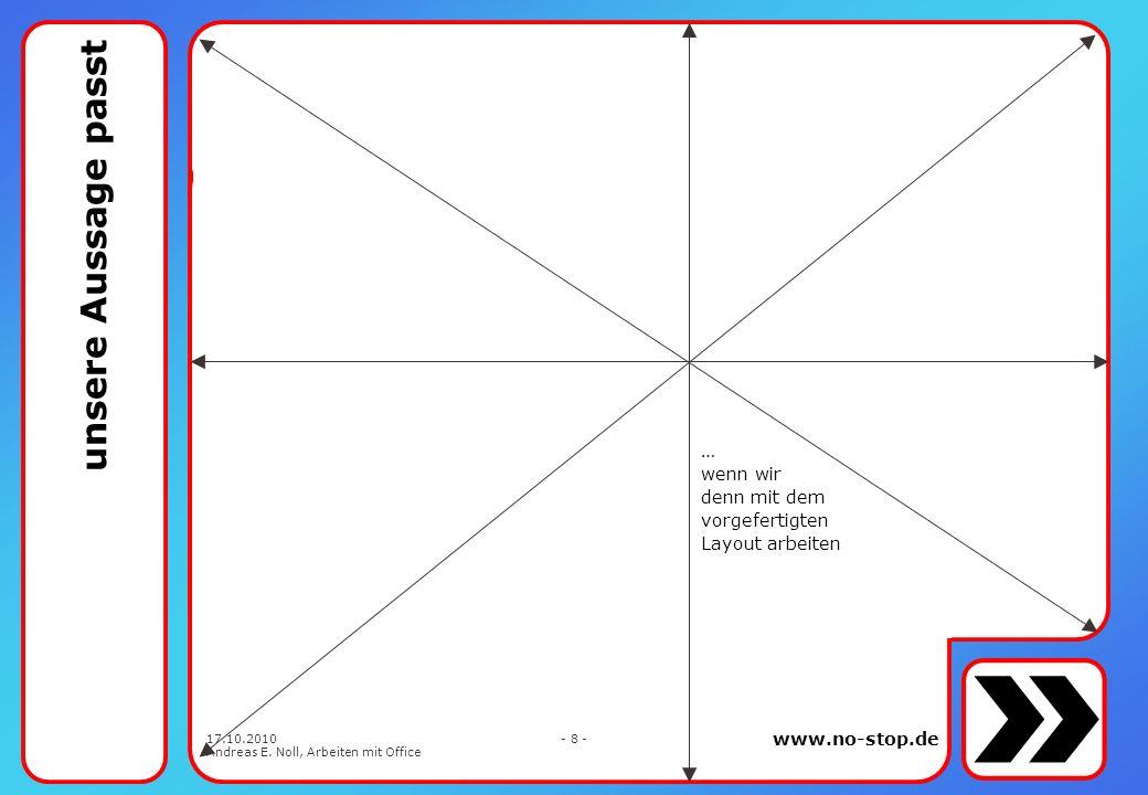 www.no-stop.de 17.10.2010 Andreas E. Noll, Arbeiten mit Office - 18 - vorbelegt siehe weiter vorn