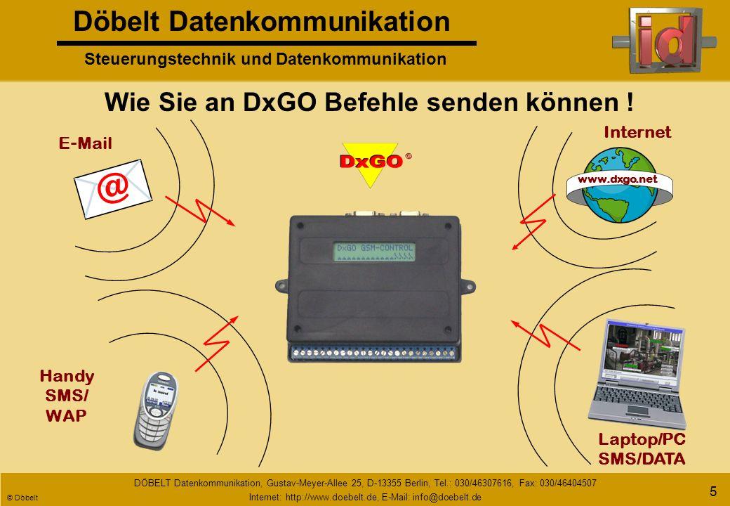 Döbelt Datenkommunikation Steuerungstechnik und Datenkommunikation DÖBELT Datenkommunikation, Gustav-Meyer-Allee 25, D-13355 Berlin, Tel.: 030/46307616, Fax: 030/46404507 Internet: http://www.doebelt.de, E-Mail: info@doebelt.de © Döbelt 4 GSM GPRS Handy E - Mail Pager Laptop/PC Voice Internet (DxNET) Fax Störung Auf welchem Weg die Benachrichtigung erfolgen kann.