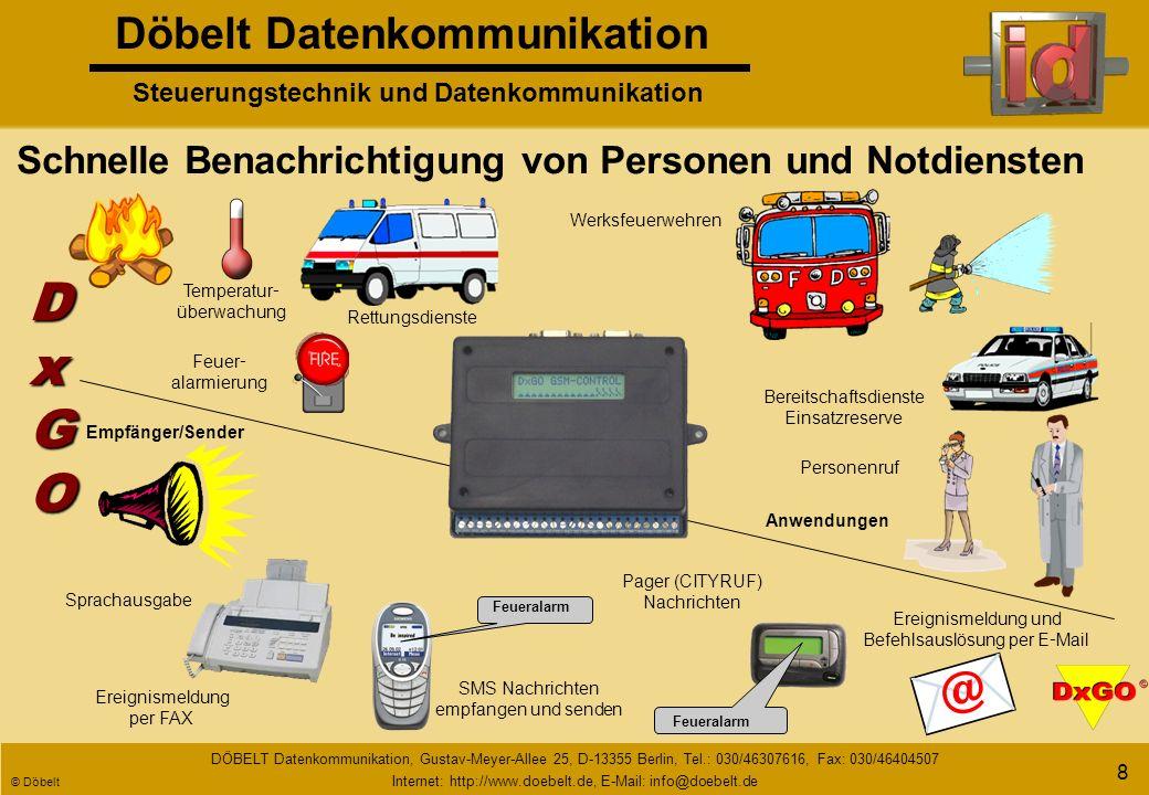 Döbelt Datenkommunikation Steuerungstechnik und Datenkommunikation DÖBELT Datenkommunikation, Gustav-Meyer-Allee 25, D-13355 Berlin, Tel.: 030/46307616, Fax: 030/46404507 Internet: http://www.doebelt.de, E-Mail: info@doebelt.de © Döbelt 8 Schnelle Benachrichtigung von Personen und Notdiensten Feueralarm Rettungsdienste SMS Nachrichten empfangen und senden Ereignismeldung per FAX Temperatur - überwachung Bereitschaftsdienste Einsatzreserve Feuer - alarmierung Personenruf Werksfeuerwehren Sprachausgabe Ereignismeldung und Befehlsauslösung per E - Mail Pager (CITYRUF) Nachrichten DxGODxGODxGODxGO Empfänger/Sender Anwendungen Feueralarm