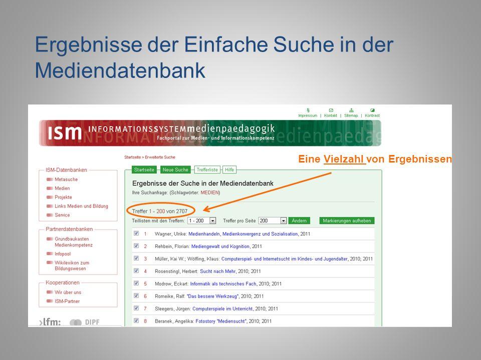 Ergebnisse der Einfache Suche in der Mediendatenbank Eine Vielzahl von Ergebnissen