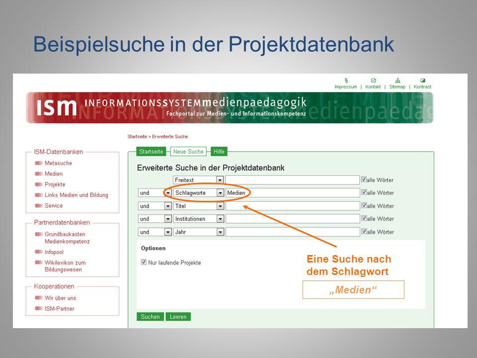 Beispielsuche in der Projektdatenbank Eine Suche nach dem Schlagwort Medien