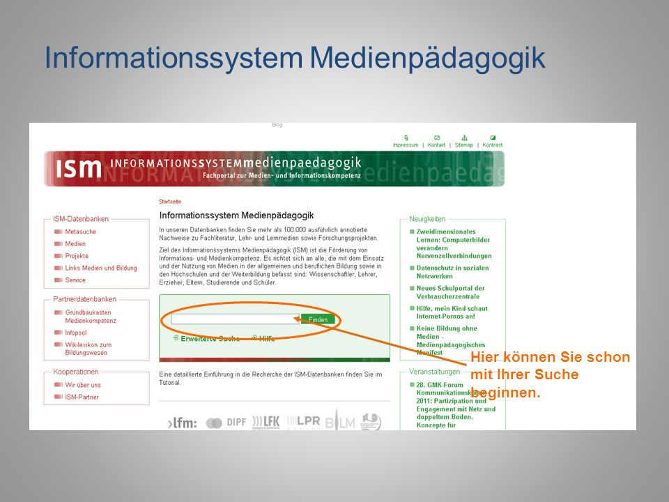 Kombinierte Suche in der Mediendatenbank Eine Kombination des Schlagwortes Medien und der Jahresangabe 2011 hat folgendes Ergebnis: