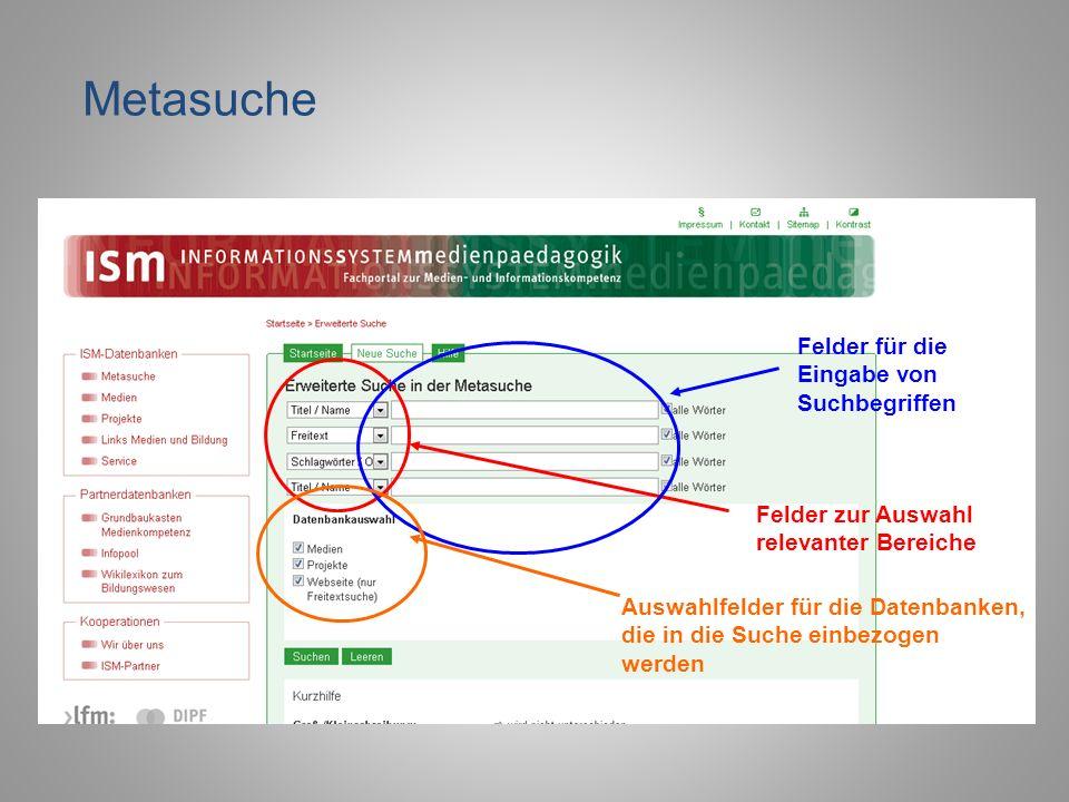 Felder zur Auswahl relevanter Bereiche Felder für die Eingabe von Suchbegriffen Auswahlfelder für die Datenbanken, die in die Suche einbezogen werden