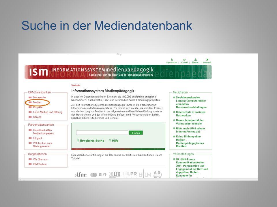 Die ISM Mediendatenbank ermöglicht die gezielte Recherche nach: Büchern Zeitschriftenartikeln Beiträge aus Sammelbänden Online verfügbaren Dokumenten Lehrfilmen Kombinierte Suche nach mehreren Suchbegriffen Recherche nach deutschen oder englischen Dokumenten Suche in der Mediendatenbank