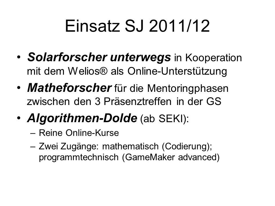 Einsatz SJ 2011/12 Solarforscher unterwegs in Kooperation mit dem Welios® als Online-Unterstützung Matheforscher für die Mentoringphasen zwischen den