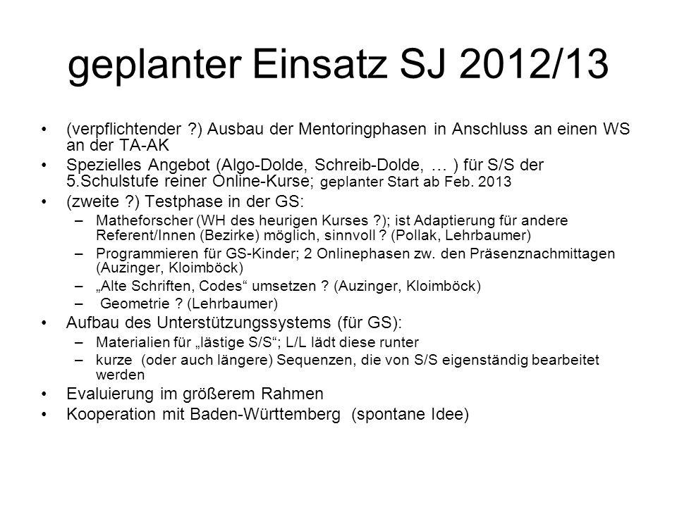 geplanter Einsatz SJ 2012/13 (verpflichtender ?) Ausbau der Mentoringphasen in Anschluss an einen WS an der TA-AK Spezielles Angebot (Algo-Dolde, Schr