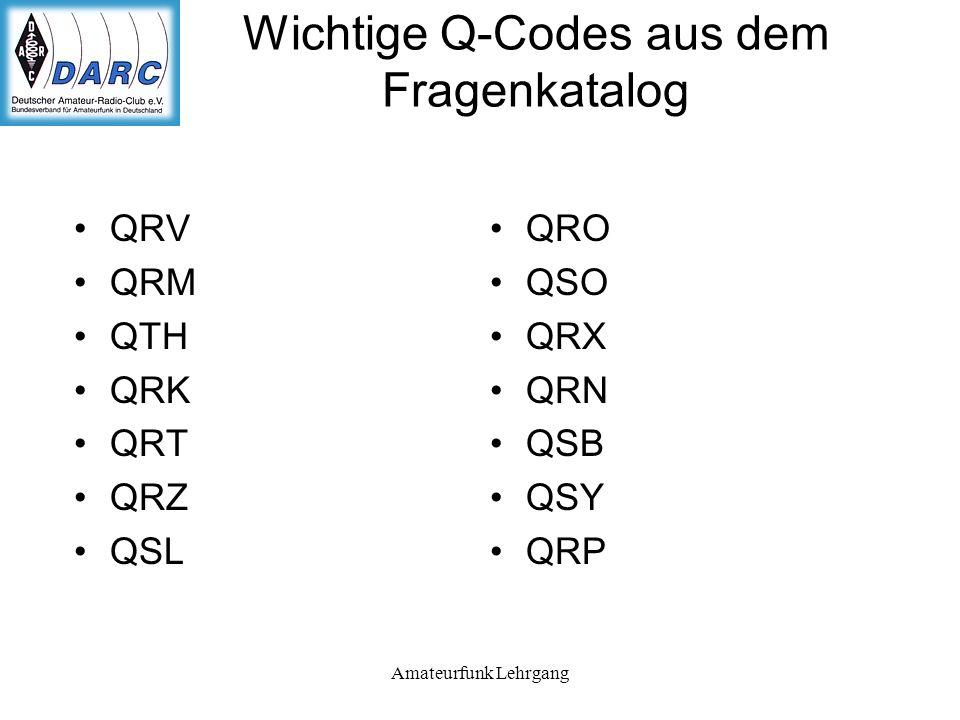 Amateurfunk Lehrgang Wichtige Q-Codes aus dem Fragenkatalog QRV QRM QTH QRK QRT QRZ QSL QRO QSO QRX QRN QSB QSY QRP