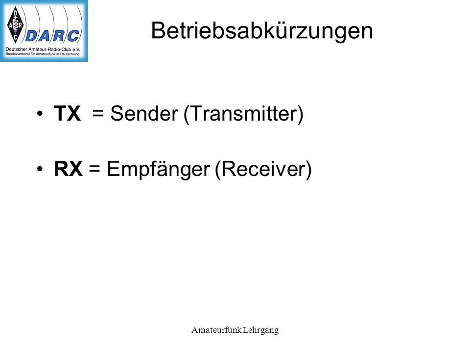 Amateurfunk Lehrgang Betriebsabkürzungen TX = Sender (Transmitter) RX = Empfänger (Receiver)