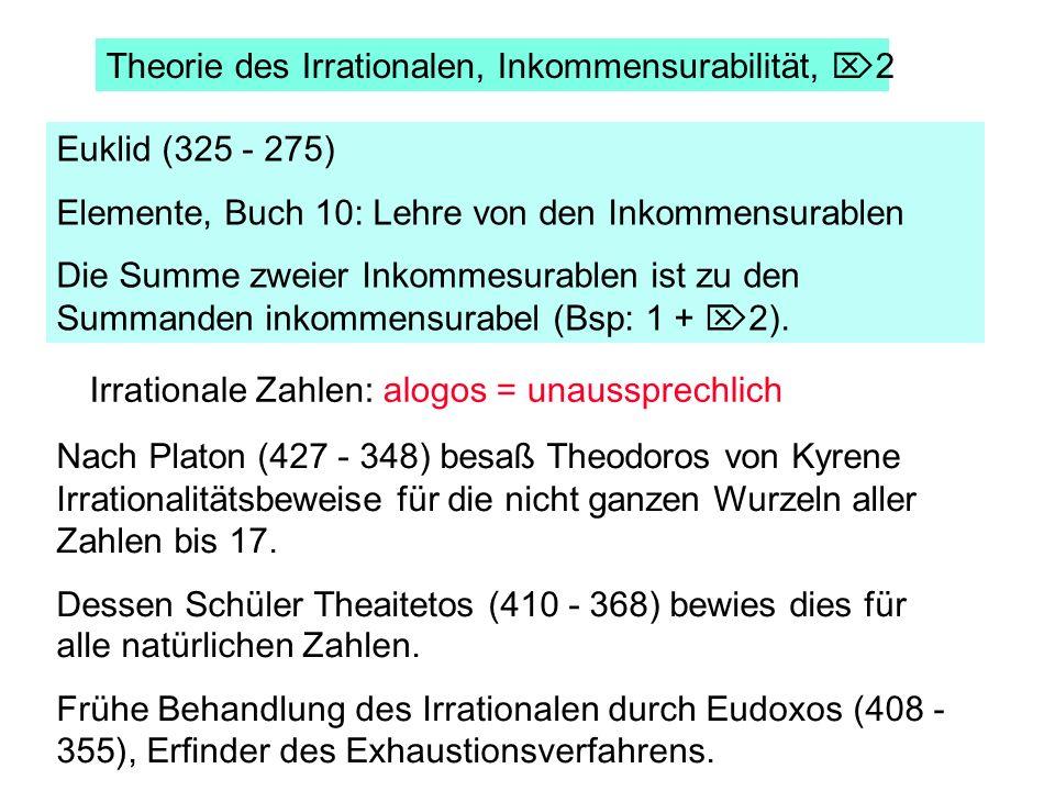 Euklid (325 - 275) Elemente, Buch 10: Lehre von den Inkommensurablen Die Summe zweier Inkommesurablen ist zu den Summanden inkommensurabel (Bsp: 1 + 2