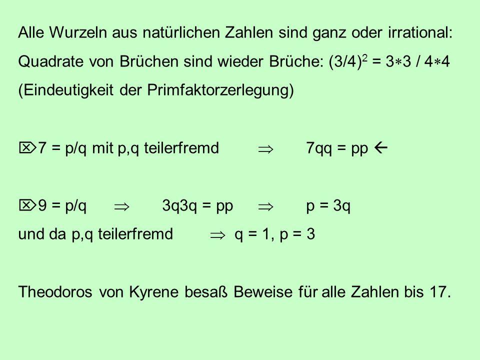 Alle Wurzeln aus natürlichen Zahlen sind ganz oder irrational: Quadrate von Brüchen sind wieder Brüche: (3/4) 2 = 3 3 / 4 4 (Eindeutigkeit der Primfak