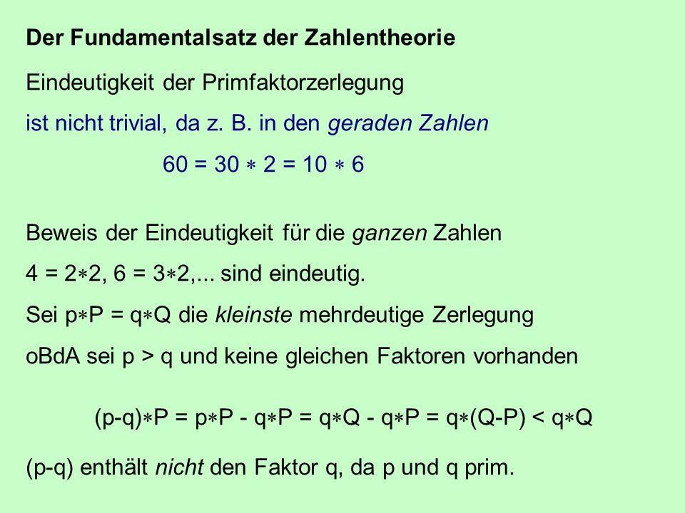Der Fundamentalsatz der Zahlentheorie Eindeutigkeit der Primfaktorzerlegung ist nicht trivial, da z. B. in den geraden Zahlen 60 = 30 2 = 10 6 Beweis