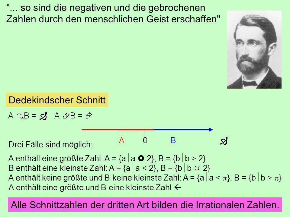 Dedekindscher Schnitt Drei Fälle sind möglich: A enthält eine größte Zahl: A = {a a 2}, B = {b b > 2} B enthält eine kleinste Zahl: A = {a a < 2}, B =
