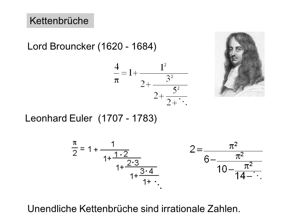 Lord Brouncker (1620 - 1684) Kettenbrüche Leonhard Euler (1707 - 1783)