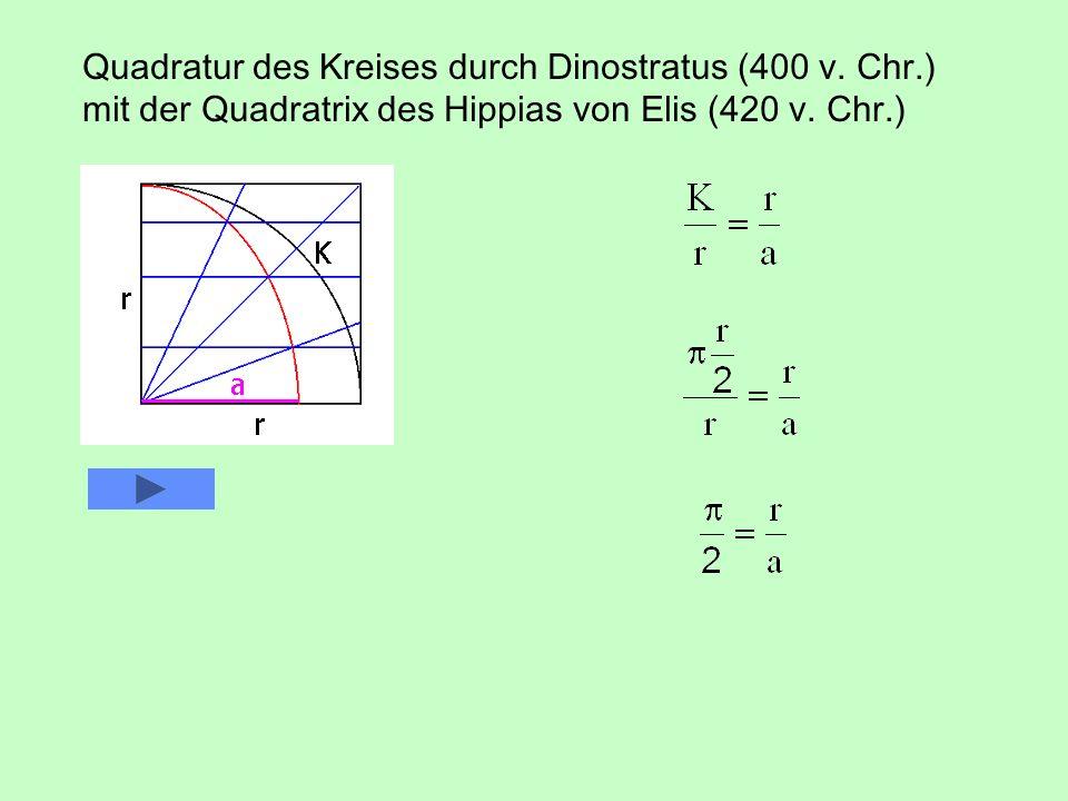 Quadratur des Kreises durch Dinostratus (400 v. Chr.) mit der Quadratrix des Hippias von Elis (420 v. Chr.)