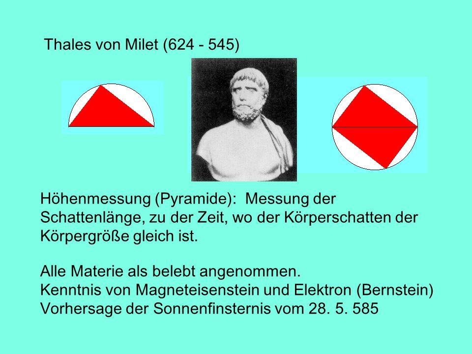 Thales von Milet (624 - 545) Höhenmessung (Pyramide): Messung der Schattenlänge, zu der Zeit, wo der Körperschatten der Körpergröße gleich ist. Alle M