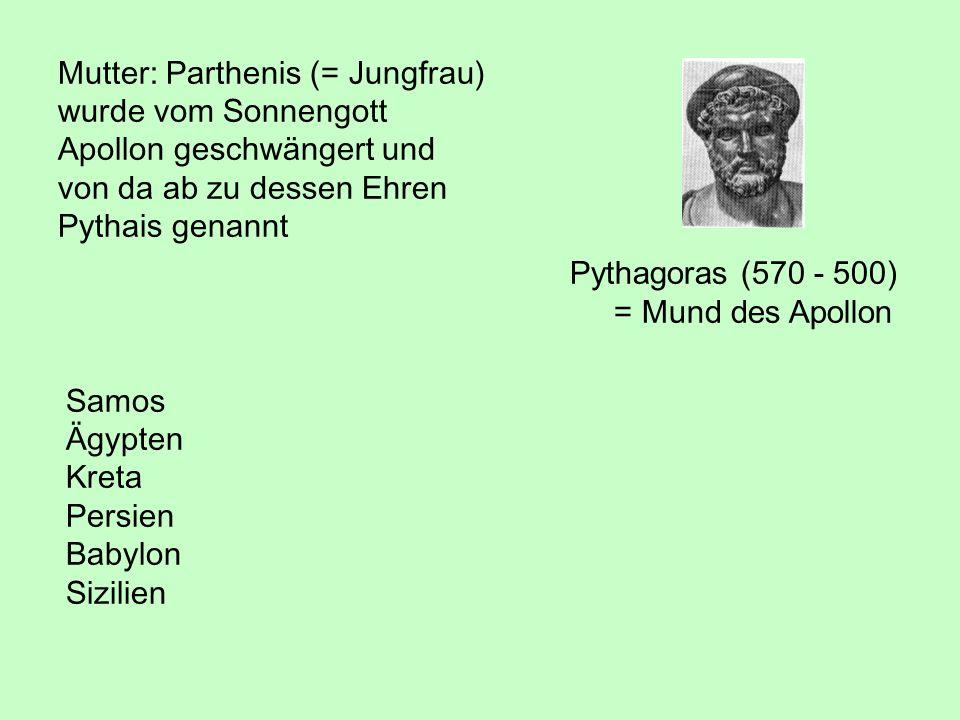 Pythagoras (570 - 500) = Mund des Apollon Mutter: Parthenis (= Jungfrau) wurde vom Sonnengott Apollon geschwängert und von da ab zu dessen Ehren Pytha