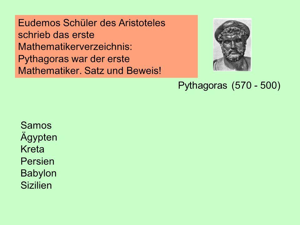 Pythagoras (570 - 500) Eudemos Schüler des Aristoteles schrieb das erste Mathematikerverzeichnis: Pythagoras war der erste Mathematiker. Satz und Bewe