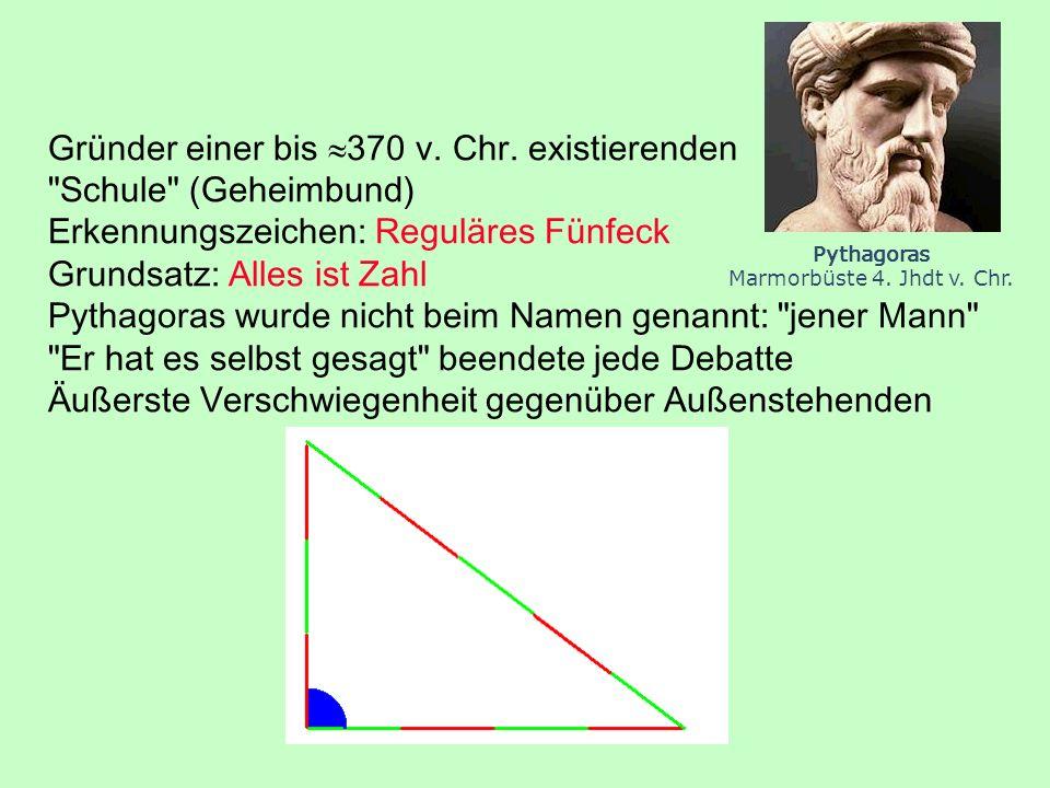 Alle Wurzeln aus natürlichen Zahlen sind ganz oder irrational: Quadrate von Brüchen sind wieder Brüche: (3/4) 2 = 3 3 / 4 4 (Eindeutigkeit der Primfaktorzerlegung) 7 = p/q mit p,q teilerfremd 7qq = pp 9 = p/q 3q3q = pp p = 3q und da p,q teilerfremd q = 1, p = 3 Theodoros von Kyrene besaß Beweise für alle Zahlen bis 17.