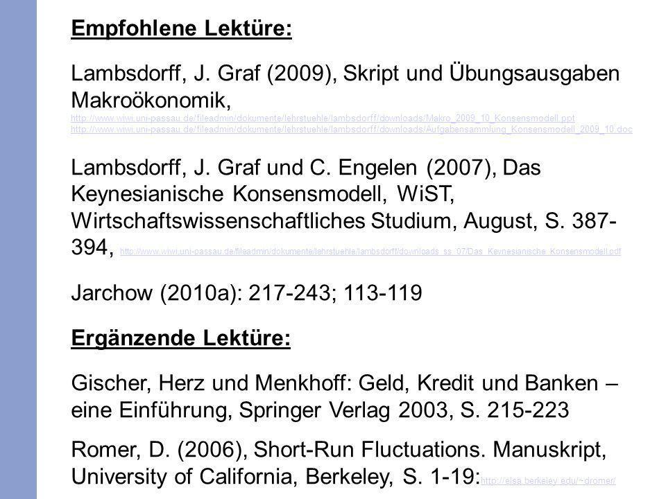 Empfohlene Lektüre: Lambsdorff, J. Graf (2009), Skript und Übungsausgaben Makroökonomik, http://www.wiwi.uni-passau.de/fileadmin/dokumente/lehrstuehle