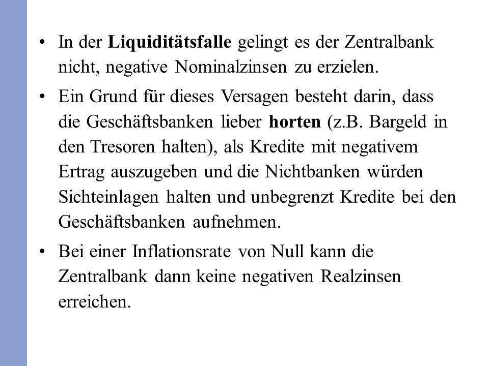 In der Liquiditätsfalle gelingt es der Zentralbank nicht, negative Nominalzinsen zu erzielen. Ein Grund für dieses Versagen besteht darin, dass die Ge