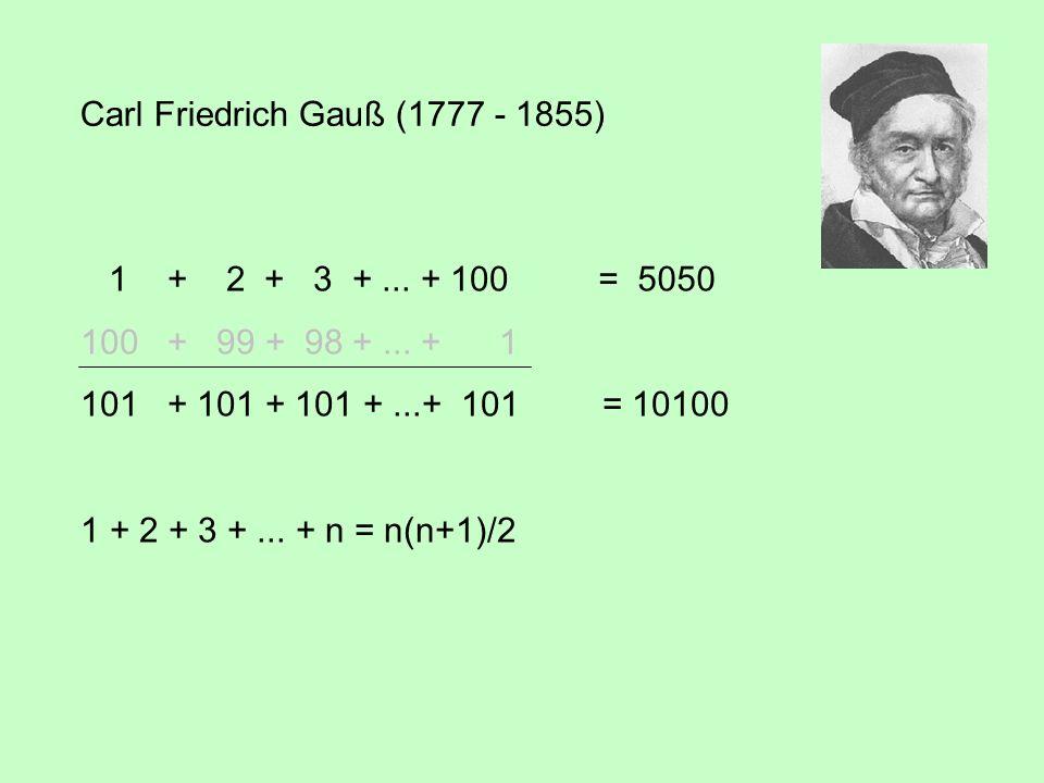 4.1 Das Prinzip der vollständigen Induktion 1 + 2 + 3 +... + n = 1 = = 1 + 2 + 3 +... + n + (n + 1) = + (n + 1) 1 + 2 + 3 +... + (m - 1) + m = = =