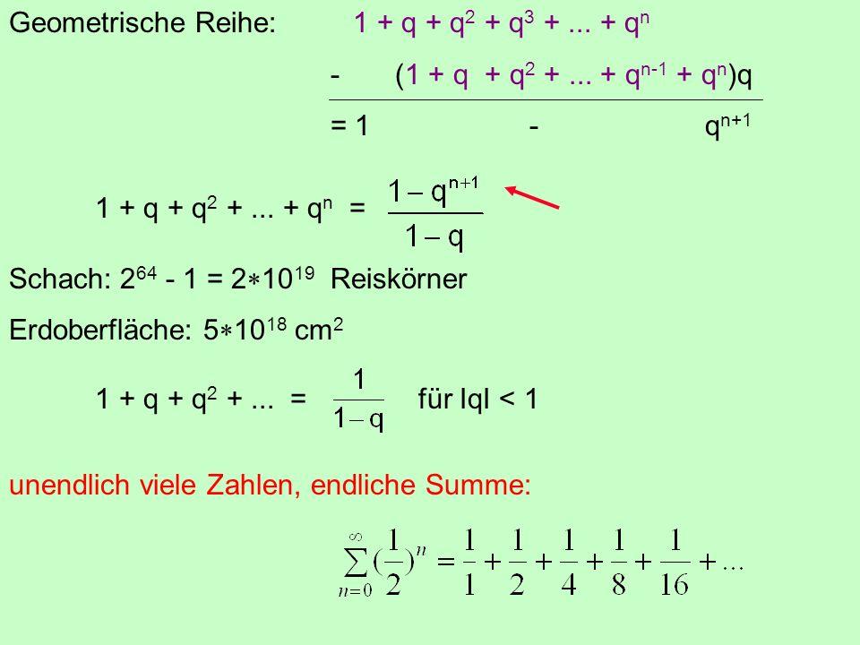 Geometrische Reihe:1 + q + q 2 + q 3 +...+ q n - (1 + q + q 2 +...