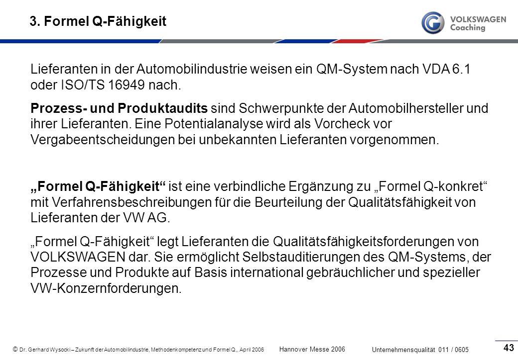 © Dr. Gerhard Wysocki – Zukunft der Automobilindustrie, Methodenkompetenz und Formel Q,, April 2006 Hannover Messe 2006 Unternehmensqualität 011 / 060