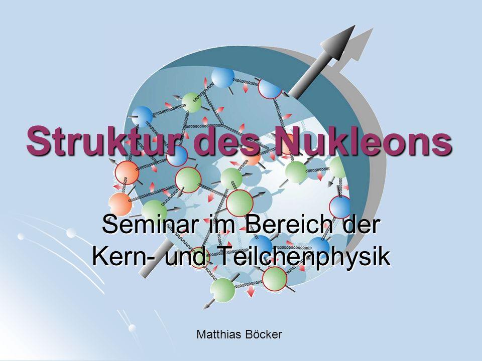 Struktur des Nukleons Seminar im Bereich der Kern- und Teilchenphysik Matthias Böcker