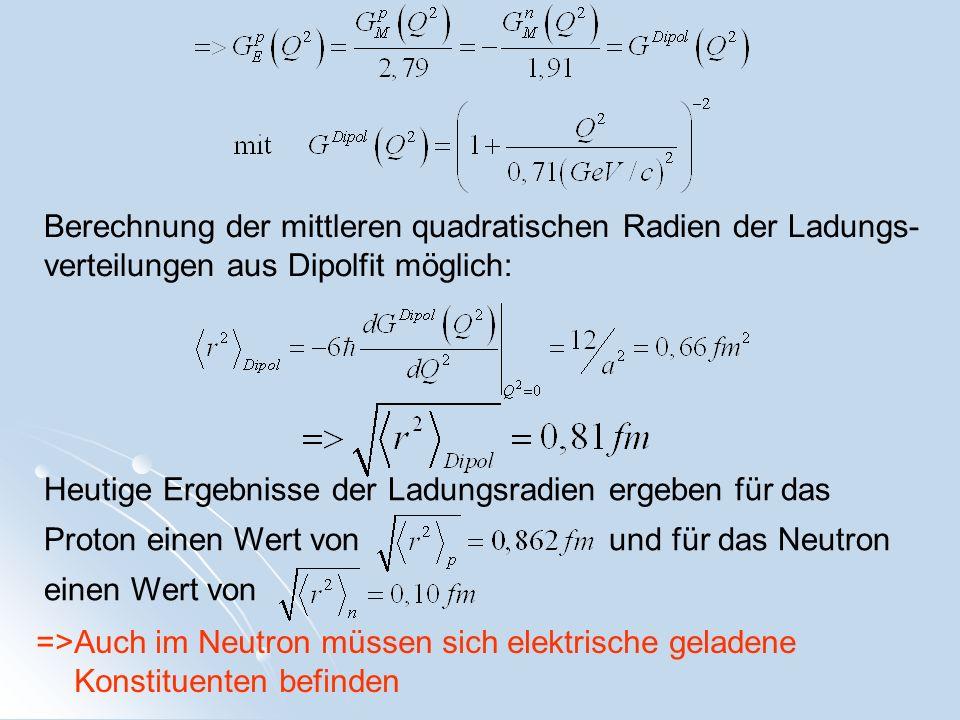 Heutige Ergebnisse der Ladungsradien ergeben für das Proton einen Wert von und für das Neutron einen Wert von Berechnung der mittleren quadratischen R