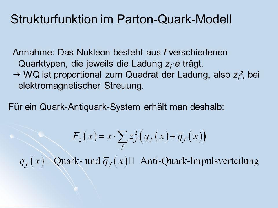 Strukturfunktion im Parton-Quark-Modell Annahme: Das Nukleon besteht aus f verschiedenen Quarktypen, die jeweils die Ladung z f. e trägt. WQ ist propo