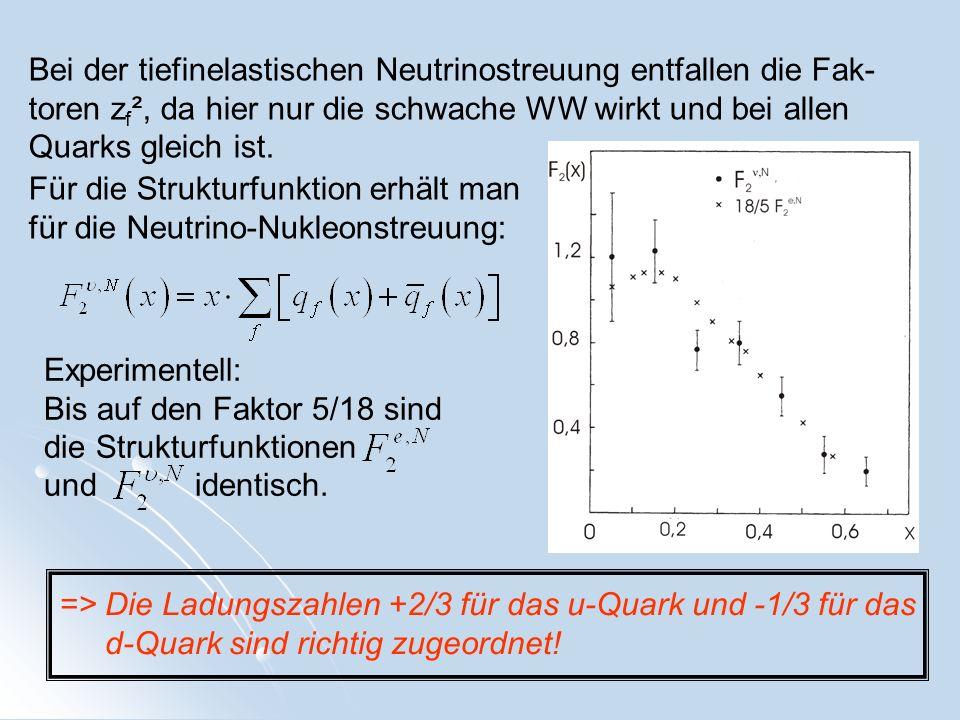 Bei der tiefinelastischen Neutrinostreuung entfallen die Fak- toren z f ², da hier nur die schwache WW wirkt und bei allen Quarks gleich ist. Für die