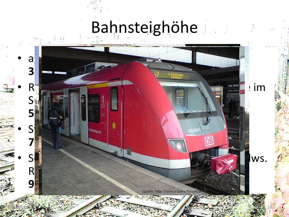 Bahnsteighöhe alt sowie im Bereich der RegioTram Kassel: 38 cm Regionalverkehr (besonders bestimmte Netze im Süden und Osten): 55 cm Standart: 76 cm S