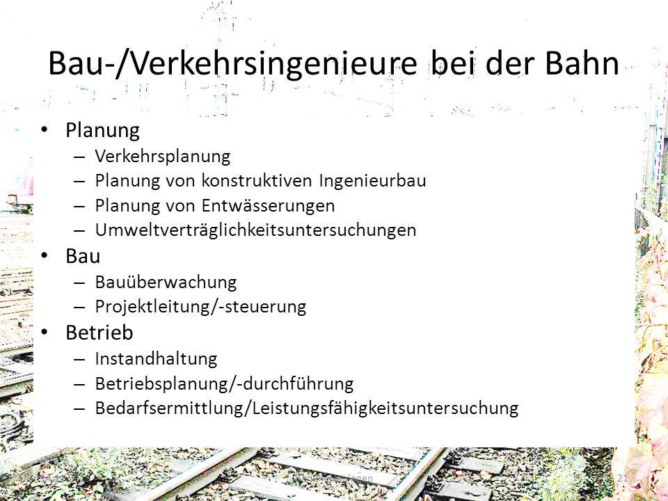 Bau-/Verkehrsingenieure bei der Bahn Planung – Verkehrsplanung – Planung von konstruktiven Ingenieurbau – Planung von Entwässerungen – Umweltverträgli
