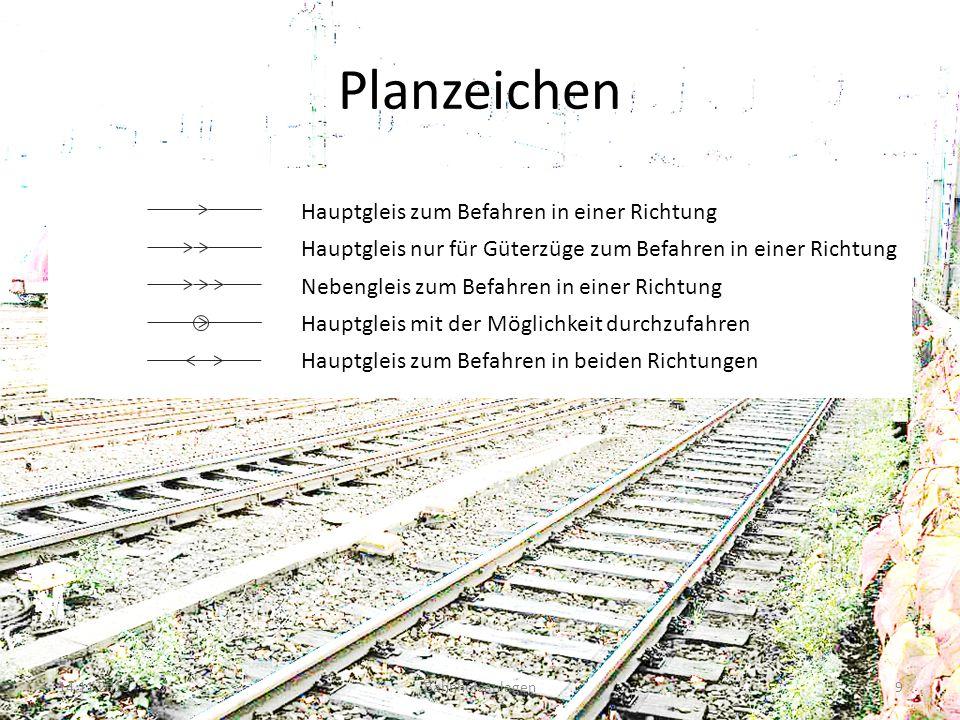 Planzeichen 14.11.2013Bahnhofsanlagen9 Hauptgleis zum Befahren in einer Richtung Hauptgleis nur für Güterzüge zum Befahren in einer Richtung Nebenglei