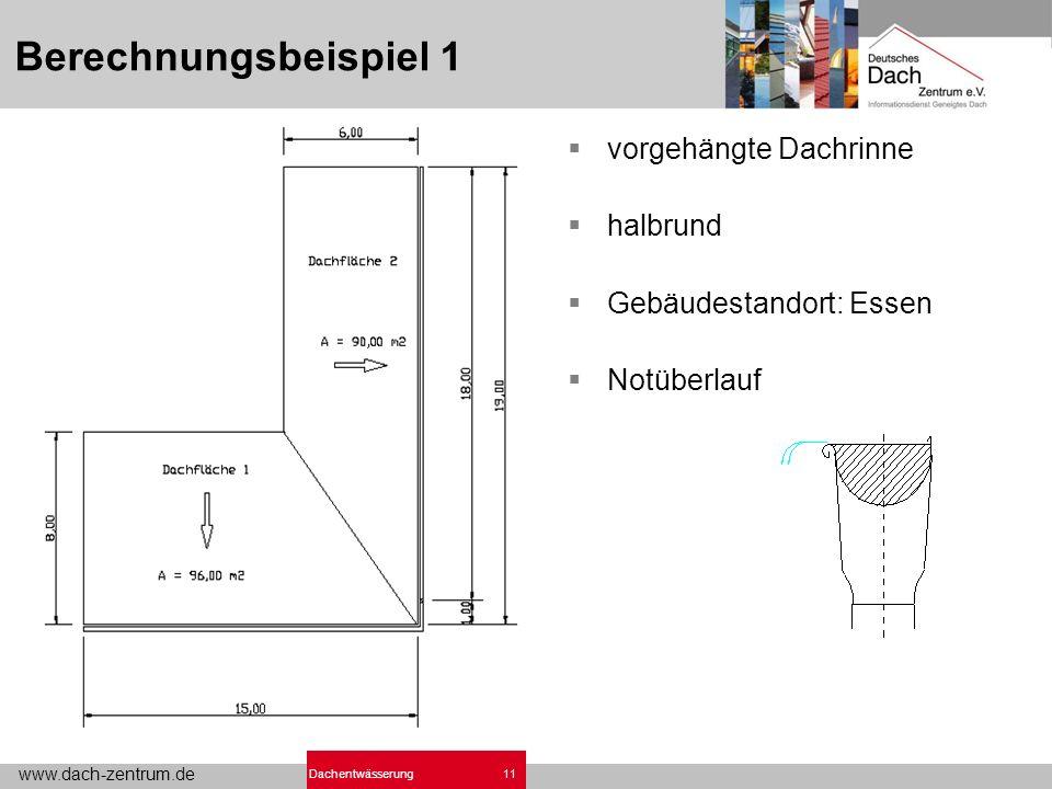 www.dach-zentrum.de 11Dachentwässerung Berechnungsbeispiel 1 vorgehängte Dachrinne halbrund Gebäudestandort: Essen Notüberlauf