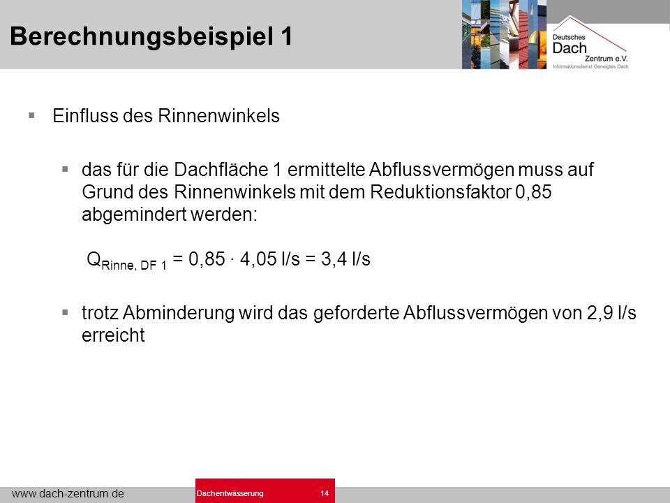 www.dach-zentrum.de 14Dachentwässerung Berechnungsbeispiel 1 Einfluss des Rinnenwinkels das für die Dachfläche 1 ermittelte Abflussvermögen muss auf Grund des Rinnenwinkels mit dem Reduktionsfaktor 0,85 abgemindert werden: Q Rinne, DF 1 = 0,85 · 4,05 l/s = 3,4 l/s trotz Abminderung wird das geforderte Abflussvermögen von 2,9 l/s erreicht